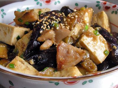 茄子と豆腐の甘辛味噌炒め