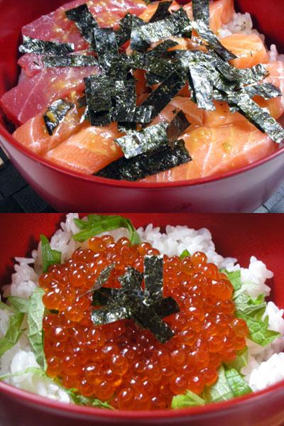 手巻き寿司と海鮮丼
