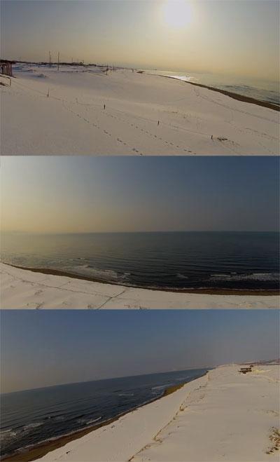空撮動画『冬の石狩浜』北海道