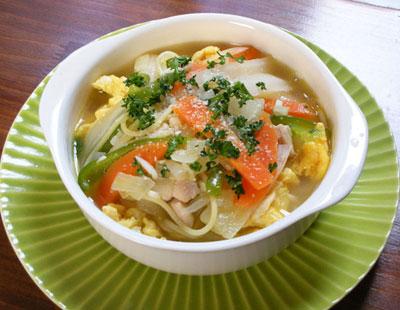 野菜たっぷりのスープスパゲティ