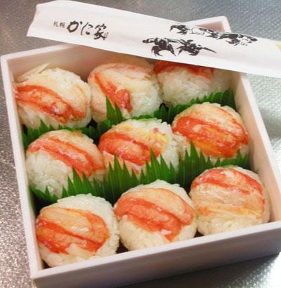 ズワイガニの手鞠寿司