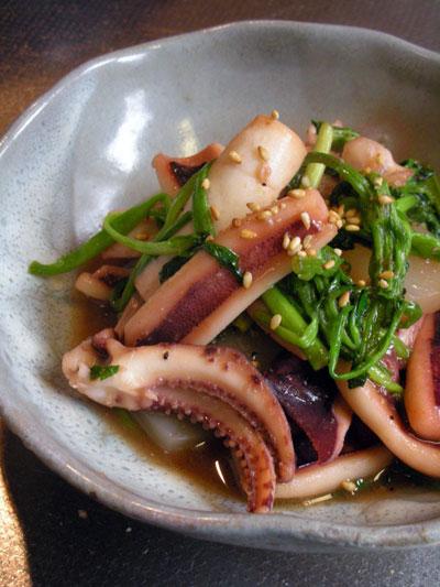 イカとセリの甘辛味噌炒めごま風味