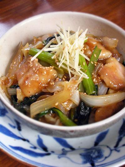 豚バラ肉と小松菜の甘辛炒め
