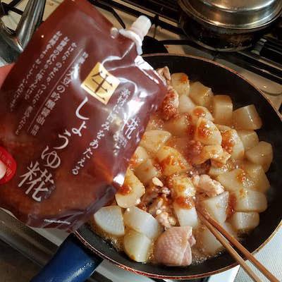 鶏モモ肉と大根の醤油麹炒め