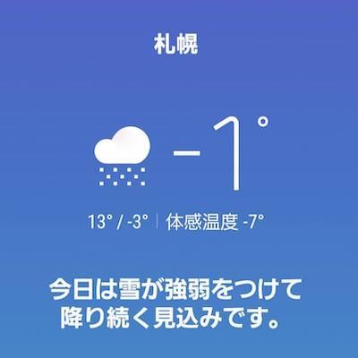 気温氷点下1度